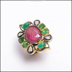 Gorgeous Emerald, Ruby Polki Pave Diamond Gold Plated Ring 925 Sterling Silver