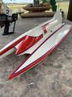 Vintage Pickle Fork RC Boat With K&B 3.5 Outboard Motor Plus Remote Parts Repair
