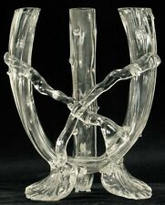 "ANTIQUE CLEAR GLASS TRIPLE CANDLE STICK ABSTRACT DESIGN FINE DECOR ABOUT 6.5"" !"
