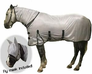 NEW!! Amazing Grey Fly Rug With Neck &  Fly Mask Sizes 5'0 - 6'6