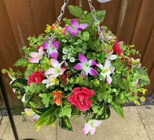 12 Inch Rattan Hanging baskets with artificial flowers