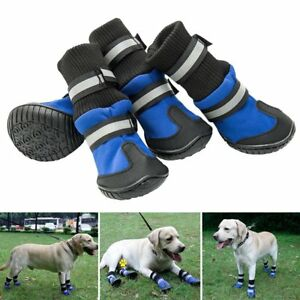 4Pcs Pets Dog Boots Waterproof Anti-Slip Shoes Paw Protective Rain Booties Sock.