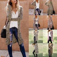Women Maxi Cardigan Duster Leopard Print Open Front Sweater Long Sleeve Coat Top