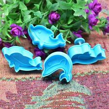 4 Pcs/set Fondant Cake Mold Stencil Stamp Dolphin Cookie Cutter Print Plunger