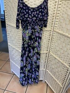 Marks And Spencer LADIES LONG DRESS NAVY MIX SIZE 14