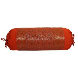 """Bed Bolster Cushion Cover Home Wedding Decor Silk Indian Pillow Cases 30 x 15"""""""
