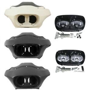 Inner Outer Fairing 5.75 Dual LED 12V Headlight Fit For Harley Road Glide 98-13
