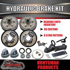 """6 Stud 9"""" Hydraulic Drum Trailer Brake Kit Inc Coupling & Fitting Kit. Caravan"""