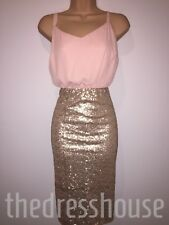 BNWT So Fabulous Sequin Skirt Ivory Pink & Gold Cami Dress Size 20 RRP £62