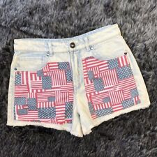 Forever 21 Size 27 High Waisted Shorts Light Wash American Flag Cutoff 005