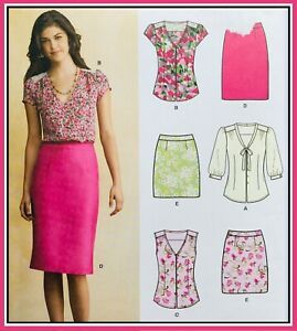 Modern CHIC SUMMER TOP & SKIRT Sewing Pattern SIZE 8-18 (S6107) UNCUT