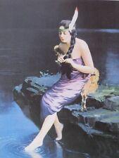 "Indian Maiden Art Print ""Minnehaha"" James Arthur Lakeside Beauty Braiding Hair !"