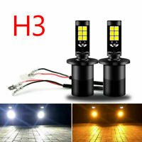 2PCS H3 LED Replacement Fog DRL Light Bulbs Dual White Yellow Switchback Color