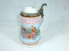 Raro Boccale in porcellana Krug con bella Pittura di fiori 19 Jh