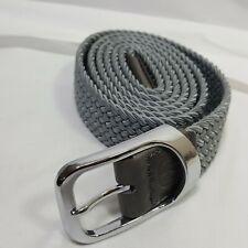 """Anchor & Shield Elastic Braided Band XXL Grey Belt Silver Buckle 1.5"""" Wide Mens"""
