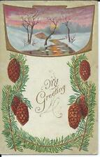 Postcard - Winter Greetings (1911)  embossed