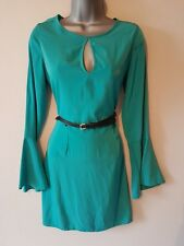BNWT New LIPSY Teal Green Flared Bell Sleeve Belted Skater Dress 8 10 12 14