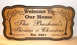 Personalized WOOD Sign Family Name Established.Engraved.Wedding Gift.