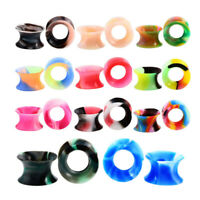 11 Pair Thin Silicone Ear Skin Tunnels Plugs Gauge Earskin Earlets Flesh Gauge A