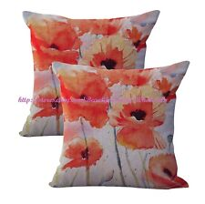 US SELLER- 2pcs home decorating ideas garden vintage poppy flower cushion cover
