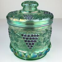Fenton Glass Green Tobacco Jar With Lid Hand Painted Signed Grape Motif