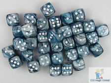 CHESSEX LUSTROUS 12mm DICE SET 36 D6 SLATE AND WHITE