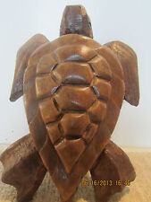 NAUTICAL HAND CARVED LARGE WOODEN SEA TURTLE