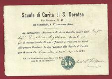 Scuole di Carità di S. Dorotea Firenze - San Frediano Via Camaldoli  1873