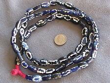 "37"" Str Rare Antique Venetian Fancy Dutch Delft Cobalt Blue White Trade Beads"