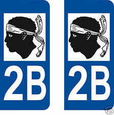 2 AUTOCOLLANTS PLAQUE IMMATRICULATION CORSE / CORSICA / TETE DE MAURE 2B
