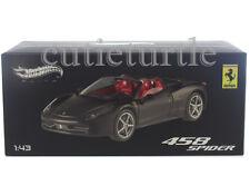 Hot Wheels Elite Ferrari 458 Italia Spider 1:43 Diecast Matte Black W1184