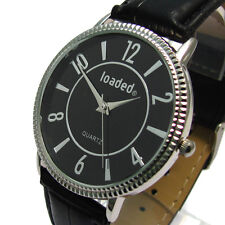 Loaded Mens Designer Watch -  Black Croc Grain Strap - Black Face - Boxed 82c