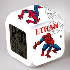 Reveil cube led lumière nuit alarm clock spidermann personnalisé prénom  réf 06