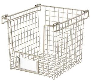 "InterDesign Classico Stackable Basket, 8 x 10 x 7.75"", Small (Matte Satin) 90975"