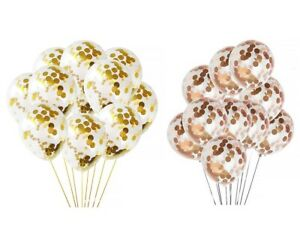 """12"""" Confetti Balloons Rose Gold Silver Gold Happy Birthday Wedding Hen Party UK"""