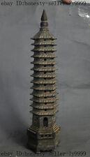Rare old china buddhism fane fengshui bronze Statue stupa pagoda wenchang tower