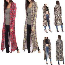 New Womens Ladies Printed Long Duster Coat Crepe Open Front Jacket Cardigan 8-26