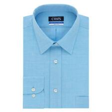 Chaps Men's Wrinkle Free Long Sleeve Aqua Blue Elite Dress Shirt; 16 32/33