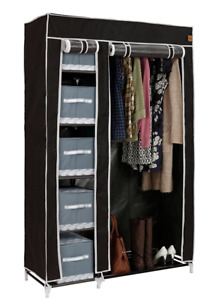 VonHaus Double Canvas Wardrobe with 6 Shelves and Hanging Rail - Black (NEW)