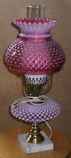 Vintage Fenton Art Glass Cranberry Opalescent Hobnail Pattern Student Lamp