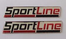 2 X Sport Line Stickers/Decals-Chrome/Rouge Brillant en Forme de Dôme Gel Finition