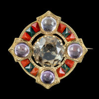 ANTIQUE VICTORIAN SCOTTISH BROOCH AGATE QUARTZ AMETHYST 18CT GOLD DATED 1868