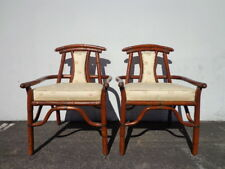2 Chairs Pair Armchair Asian Ming Chinoiserie Rattan Bamboo Vintage Mid Century