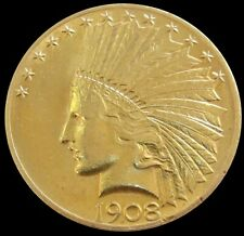 1908 GOLD UNITED STATES $10 DOLLAR INDIAN HEAD COIN PHILADELPHIA MINT *CLEANED