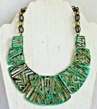 "Mythology Oxidized Copper Bib Collar 18"" Necklace"