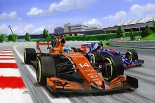 Print on canvas Fernando Alonso in the McLaren MCL32 of 2017 by Toon Nagtegaal