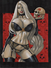 LADY DEATH Chaos Comics Original Art Sexy - Skull Kiss - 9 X 12 by Chris Foulkes
