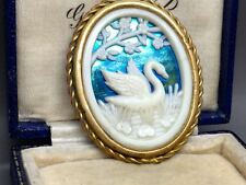 Vintage Depose French Celluloid Silhouette Swan Brooch