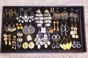 24 Piece Mixed Style/Tone Dangle Chandelier Pierced Earring Lot