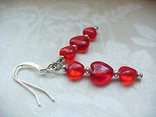 Valentines Day Red Heart Earrings Minimalist Stack Czech Glass Beads Free Ship